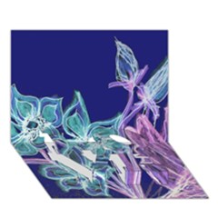 Purple, Pink Aqua Flower Style Love Bottom 3d Greeting Card (7x5)