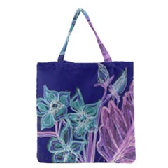 Purple, Pink Aqua Flower Style Grocery Tote Bags by Contest1918526