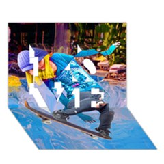 Skateboarding On Water Love 3d Greeting Card (7x5)  by icarusismartdesigns