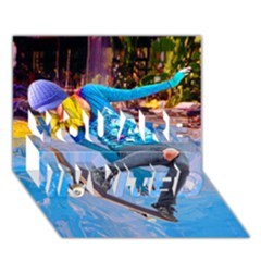 Skateboarding On Water You Are Invited 3d Greeting Card (7x5)  by icarusismartdesigns