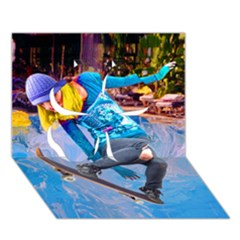 Skateboarding On Water Clover 3d Greeting Card (7x5)  by icarusismartdesigns