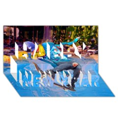 Skateboarding On Water Happy New Year 3d Greeting Card (8x4)  by icarusismartdesigns