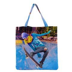Skateboarding On Water Grocery Tote Bags by icarusismartdesigns
