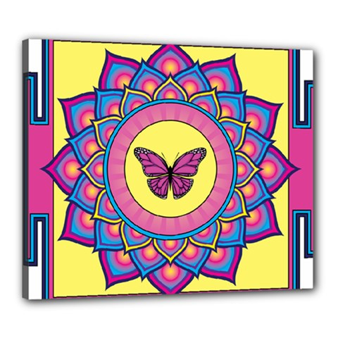 Butterfly Mandala Canvas 24  X 20  by GalacticMantra