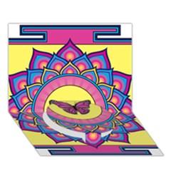 Butterfly Mandala Circle Bottom 3d Greeting Card (7x5)  by GalacticMantra