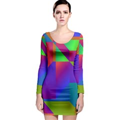 Colorful Gradient Shapes Long Sleeve Bodycon Dress