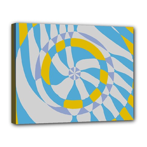 Abstract Flower In Concentric Circles Canvas 14  X 11  (stretched) by LalyLauraFLM