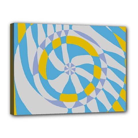 Abstract Flower In Concentric Circles Canvas 16  X 12  (stretched) by LalyLauraFLM