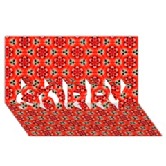 Lovely Orange Trendy Pattern  Sorry 3d Greeting Card (8x4)