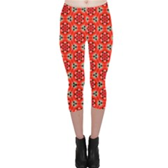 Lovely Orange Trendy Pattern  Capri Leggings by creativemom