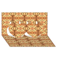 Faux Animal Print Pattern Twin Hearts 3d Greeting Card (8x4)  by creativemom