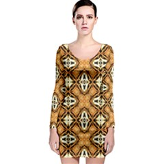 Faux Animal Print Pattern Long Sleeve Bodycon Dresses