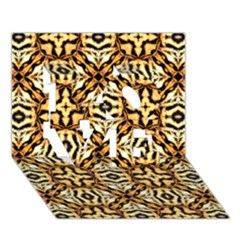 Faux Animal Print Pattern Love 3d Greeting Card (7x5)