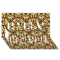 Faux Animal Print Pattern Happy New Year 3d Greeting Card (8x4)
