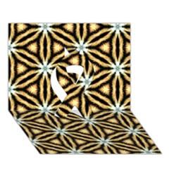 Faux Animal Print Pattern Ribbon 3d Greeting Card (7x5)