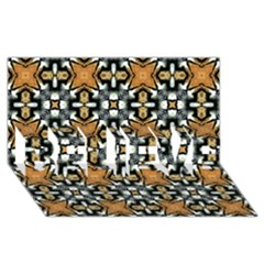 Faux Animal Print Pattern Believe 3d Greeting Card (8x4)  by creativemom