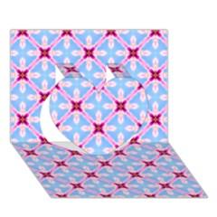 Cute Pretty Elegant Pattern Heart 3d Greeting Card (7x5)