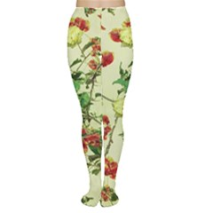 Vintage Style Floral Print Women s Tights by dflcprintsclothing