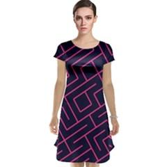 Pink Blue Maze Cap Sleeve Nightdress