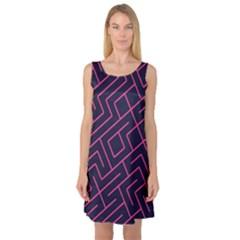 Pink Blue Maze Sleeveless Satin Nightdress