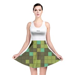 Green Tiles Pattern Reversible Skater Dress by LalyLauraFLM