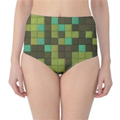 Green Tiles Pattern High Waist Bikini Bottoms by LalyLauraFLM