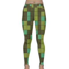 Green Tiles Pattern Yoga Leggings by LalyLauraFLM