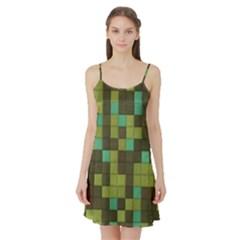 Green Tiles Pattern Satin Night Slip by LalyLauraFLM