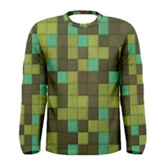 Green Tiles Pattern Men Long Sleeve T Shirt by LalyLauraFLM