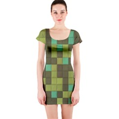 Green Tiles Pattern Short Sleeve Bodycon Dress by LalyLauraFLM