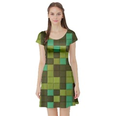 Green Tiles Pattern Short Sleeve Skater Dress by LalyLauraFLM