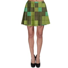 Green Tiles Pattern Skater Skirt by LalyLauraFLM