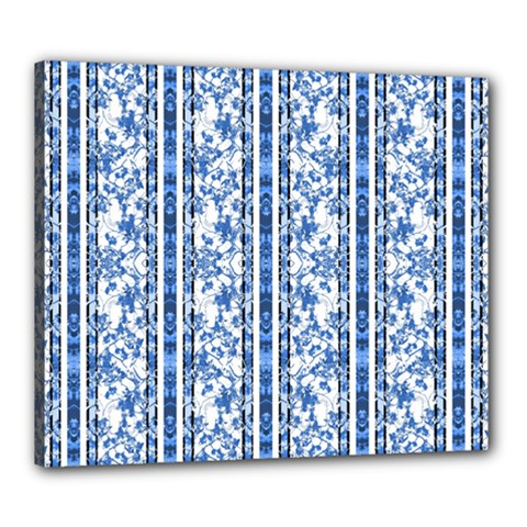 Chinoiserie Striped Floral Print Canvas 24  X 20  by dflcprints