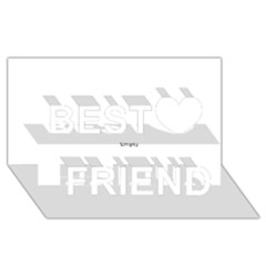 Black And White Wavy Mosaic Best Friends 3d Greeting Card (8x4)  by NaturalDesign