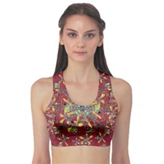 Colorful Oriental Floral Print Sports Bra by dflcprintsclothing