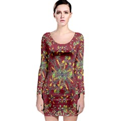 Colorful Oriental Floral Print Long Sleeve Bodycon Dresses