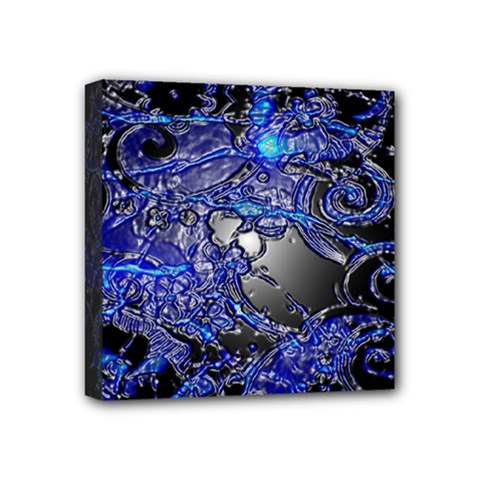 Blue Silver Swirls Mini Canvas 4  X 4  by LokisStuffnMore