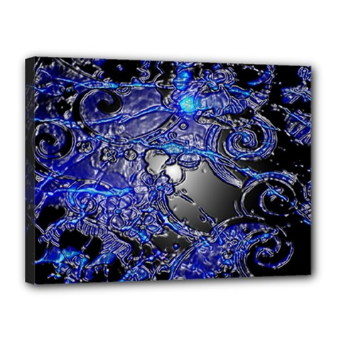 Blue Silver Swirls Canvas 16  X 12  by LokisStuffnMore