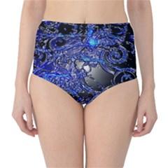 Blue Silver Swirls High Waist Bikini Bottoms
