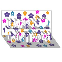 Candy Flowers Happy Birthday 3d Greeting Card (8x4)