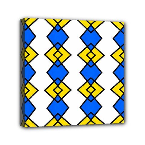 Blue Yellow Rhombus Pattern Mini Canvas 6  X 6  (stretched) by LalyLauraFLM