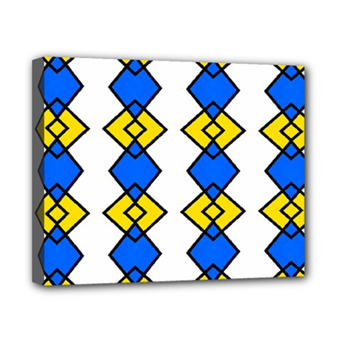 Blue Yellow Rhombus Pattern Canvas 10  X 8  (stretched) by LalyLauraFLM