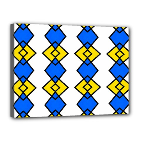 Blue Yellow Rhombus Pattern Canvas 16  X 12  (stretched) by LalyLauraFLM