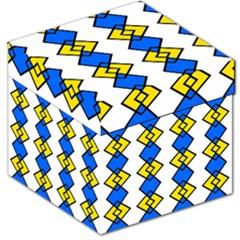 Blue Yellow Rhombus Pattern Storage Stool