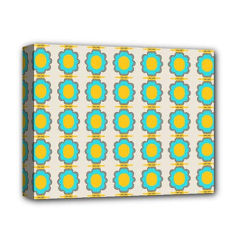 Blue Flowers Pattern Deluxe Canvas 14  X 11  (stretched) by LalyLauraFLM