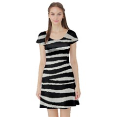 Black White Tiger  Short Sleeve Skater Dress by OCDesignss
