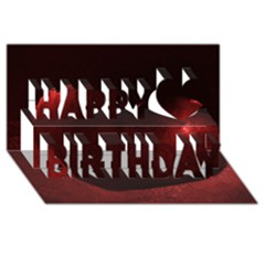 Red Heart Happy Birthday 3d Greeting Card (8x4)