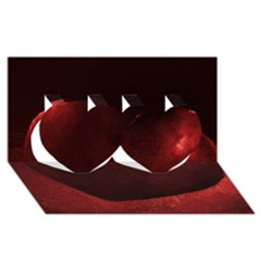 Red Heart Twin Hearts 3d Greeting Card (8x4)  by timelessartoncanvas