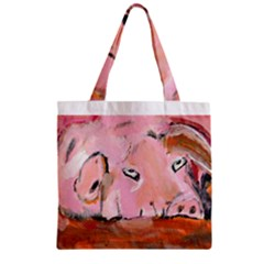 Piggy No 3 Zipper Grocery Tote Bags
