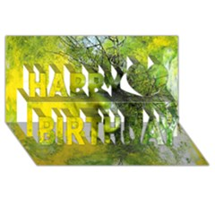 Green Mask Happy Birthday 3d Greeting Card (8x4)  by timelessartoncanvas